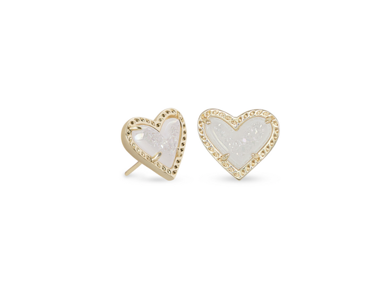 Ari Heart Gold Stud Earring - Iridescent Drusy - FINAL SALE