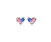 Ari Heart Silver Stud Earrings - Watercolor Illusion