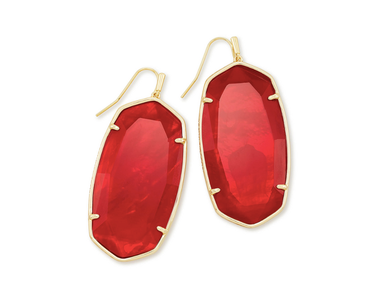 Faceted Danielle Gold Statement Earrings - Cherry Red Illusion