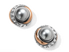 Neptune's Rings Button Earrings - Gray Pearl