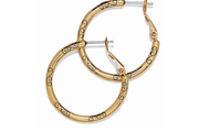 Small Hoop Charm Earrings- Gold