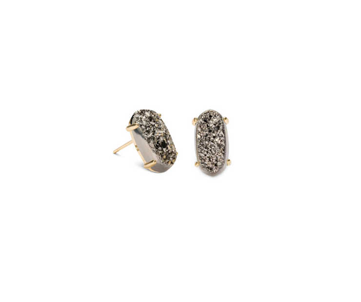 Betty Gold Stud Earring - Platinum Drusy