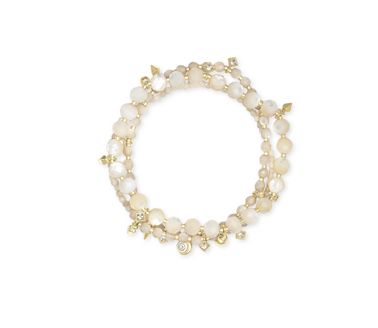 Kennedy Gold Stretch Bracelet - Ivory Mother Of Pearl