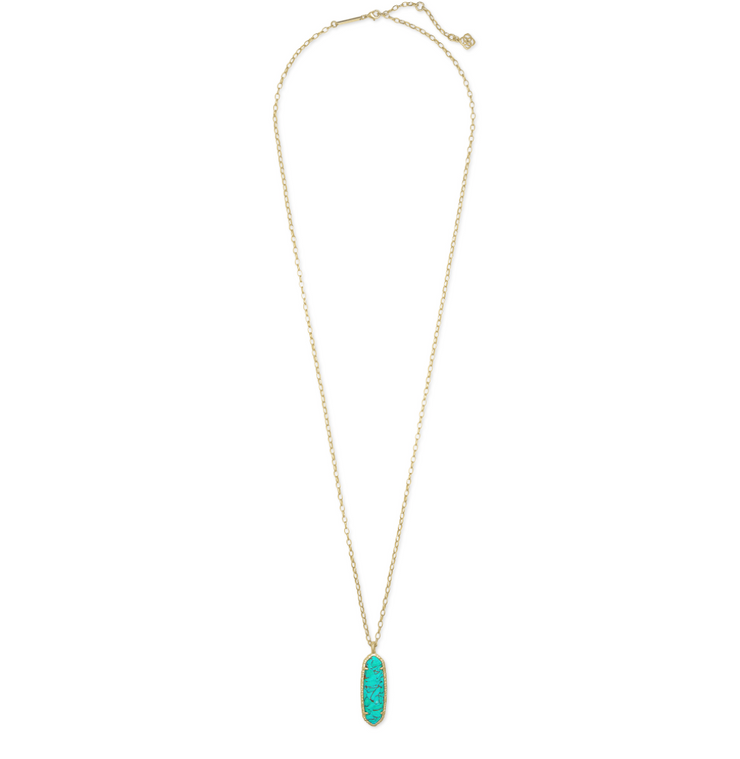 Layla Gold Long Pendant Necklace - Bronze Veined Teal Magnesite - FINAL SALE