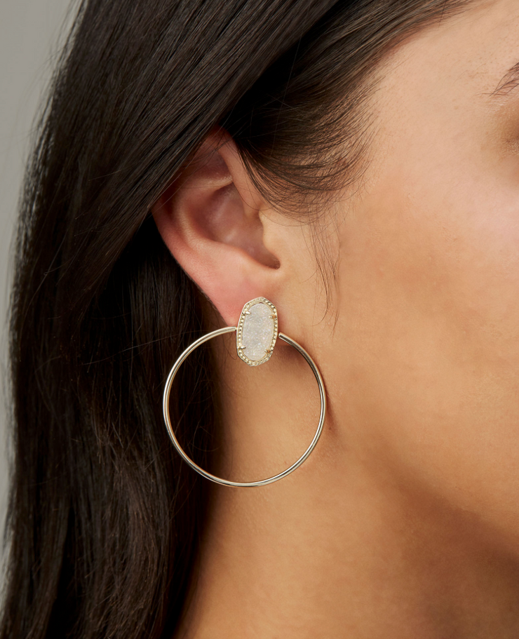 Mayra Gold Hoop earrings - Dichroic Glass