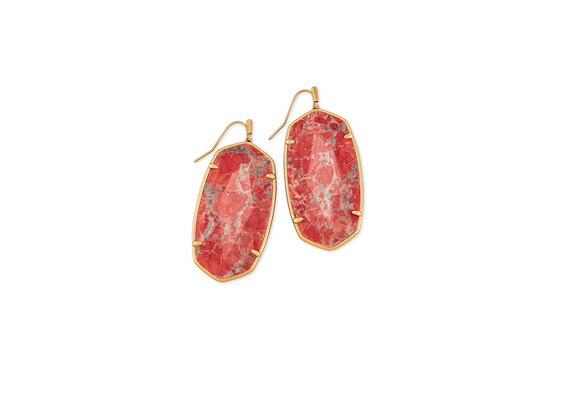 Faceted Elle Gold Drop Earrings - Burnt Sienna