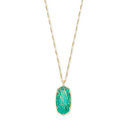 Faceted Reid Long Pendant Necklace - Dark Teal Amazonite