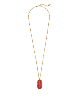 Faceted Reid Long Pendant Necklace - Burnt Sienna