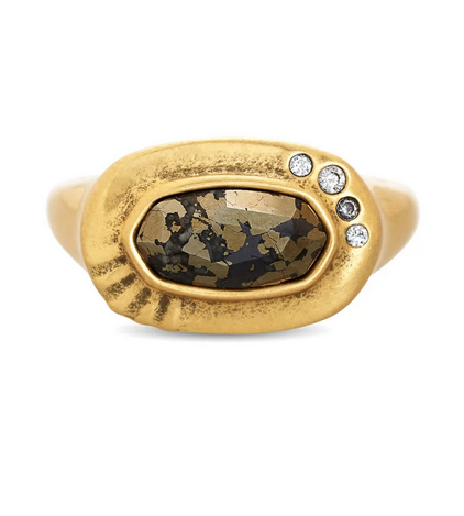 Anna Band Ring Sz 7 Vintage Gold Black Pyrite
