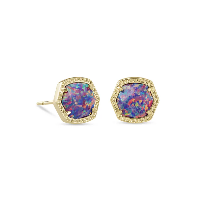 Davie Gold Stud Earring - Lavender Opal