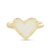 Ari Heart Band Gold Ring - Iridescent Drusy  (Size 6) - FINAL SALE