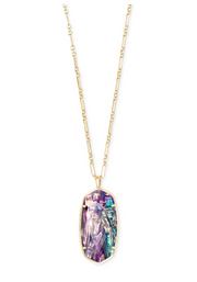 Faceted Reid Gold Long Pendant Necklace - Lilac Abalone