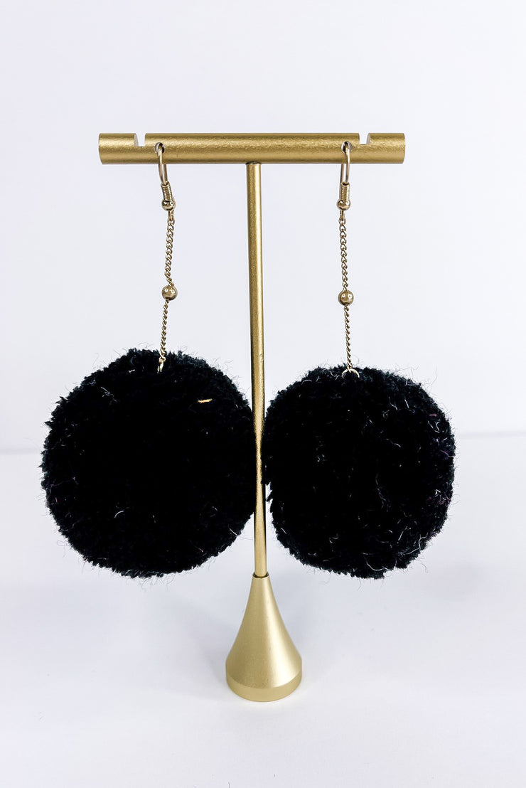 Big City Pom Pom Earring - Black