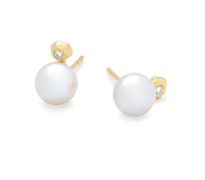Cathleen Large Stud Earring - 14k Gold Pearl