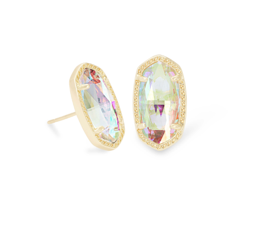 Ellie Gold Stud Earrings - Dichroic Glass