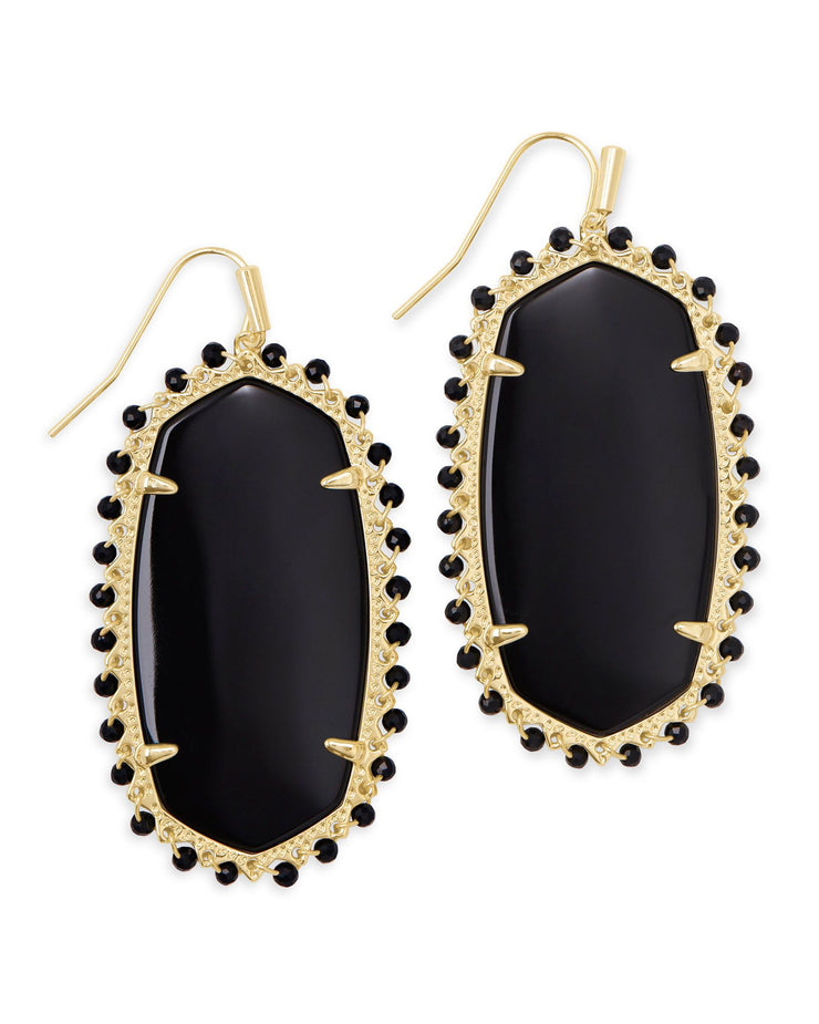 Beaded Danielle Earring - Black Obsidian