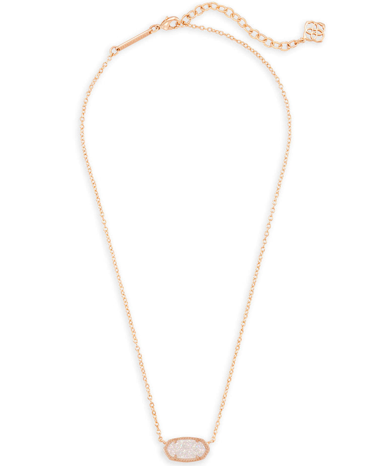 Elisa Rose Gold Pendant Necklace - Iridescent Drusy