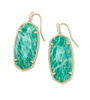 Faceted Elle Gold Statement Earrings - Dark Teal Amazonite