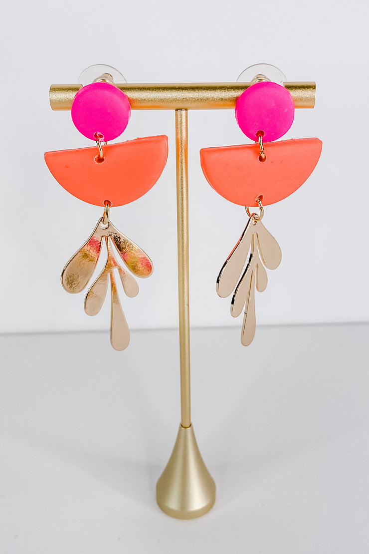 Pink And Coral Blythe Earring