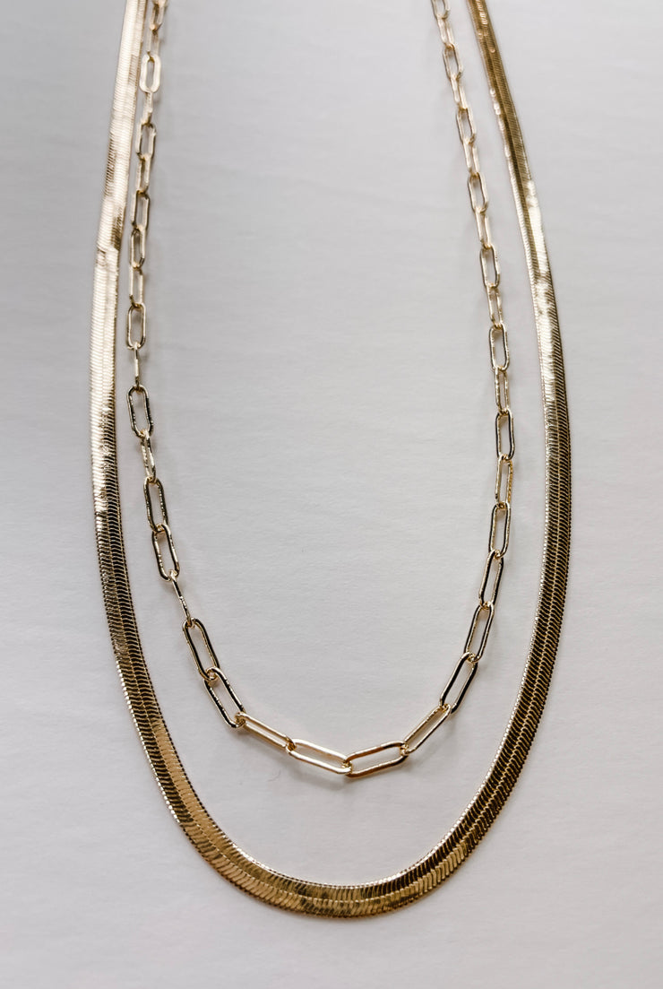 Away With You Herringbone Necklace - Gold