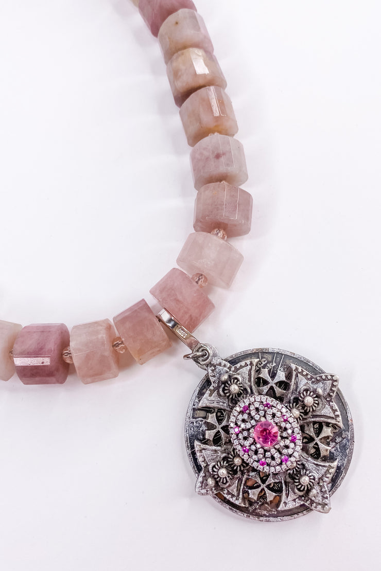Pink Topaz Cross Pink Quartz Necklace | RockStar In Rome