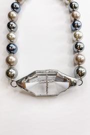 Metallic Pearl Crystal Rock Necklace | RockStar In Rome