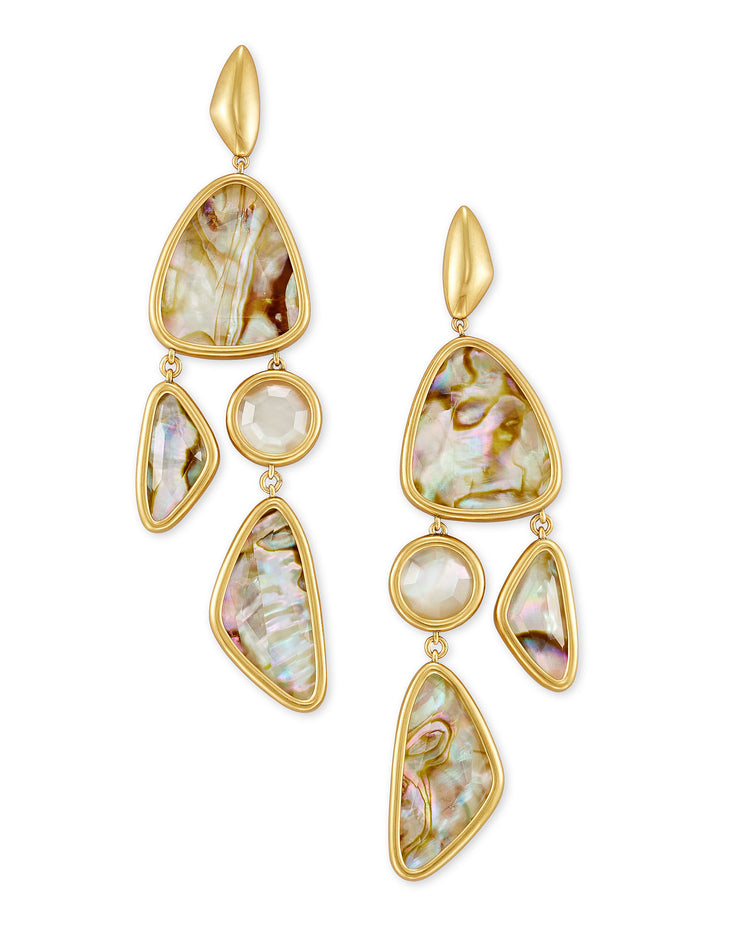 Margot Vintage Gold Statement Earrings - White Abalone