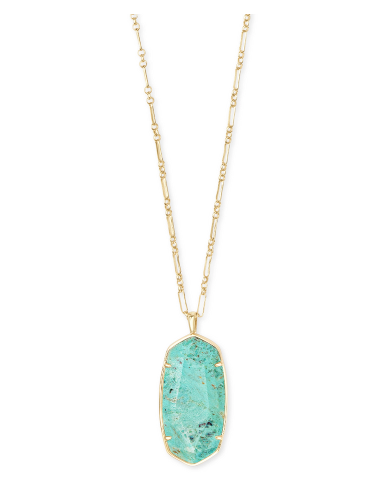 Faceted Reid Gold Long Pendant Necklace - Sea Green