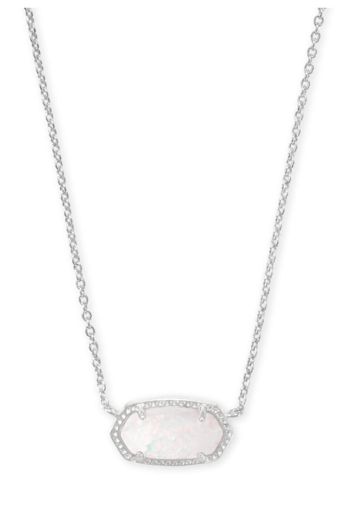 Elisa Silver Necklace - White Opal