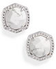 Davie Stud Earring Rhodium - White Howlite