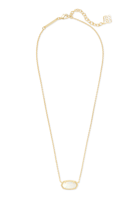 Elisa Gold Necklace - White Opal