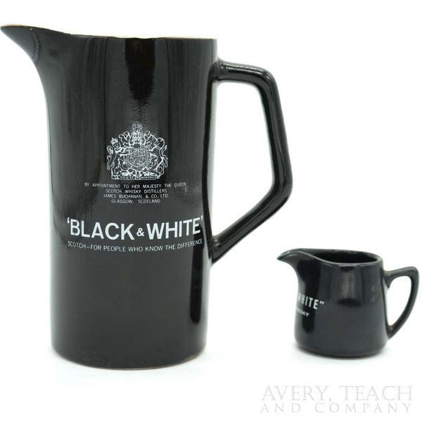 Pair of Black & White Scotch Pitchers - Avery, Teach and Co.