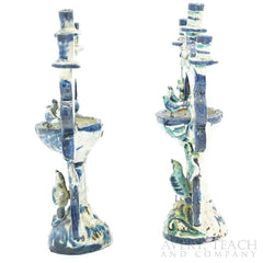 1970s Pair of Blue and Green Bird Baths Candelabra Mexican Folk Art - Avery, Teach and Co.