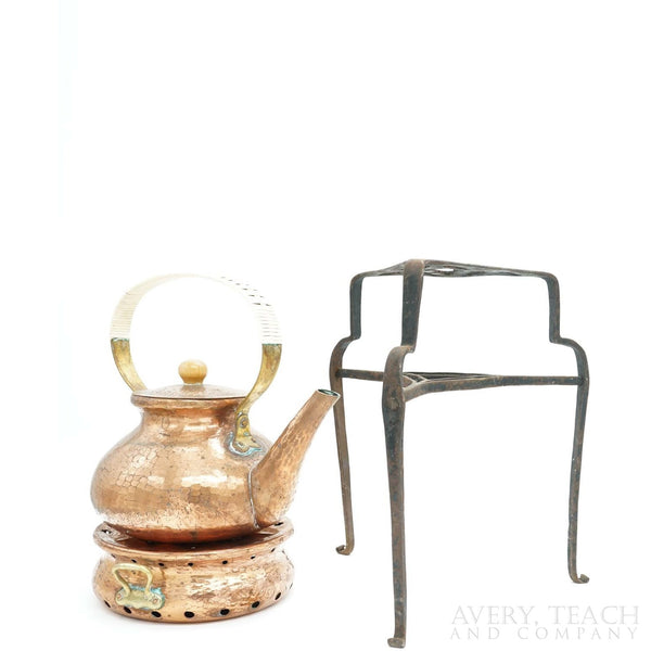 Mid-Century Copper Kettle and Heating Element with Iron Stand - Avery, Teach and Co.
