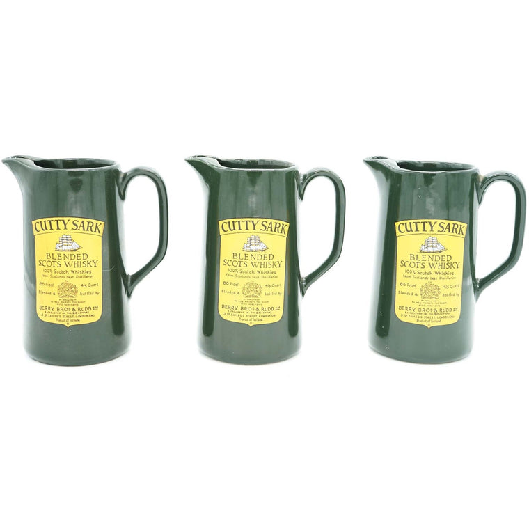Set of 3 Cutty Sark Blended Scots Whisky Green Pitcher