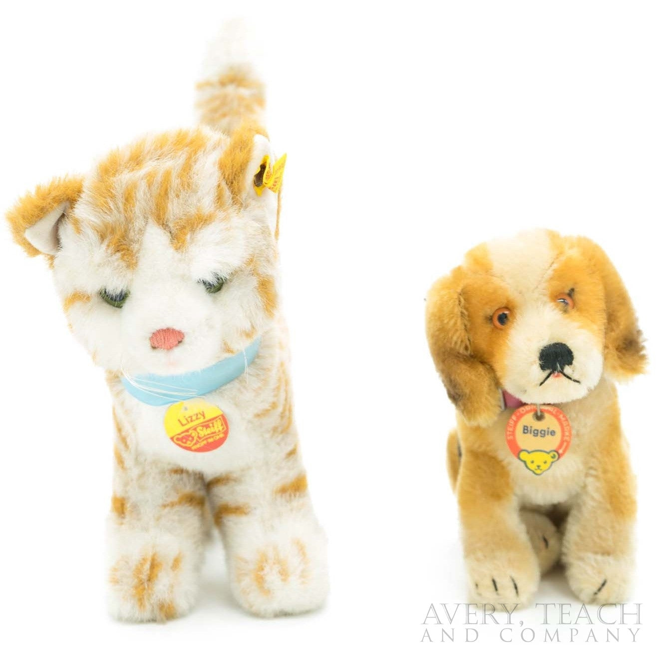 A Pair of Steiff Cat & Dog Plush Toy
