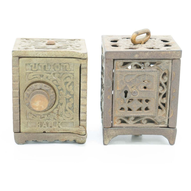 A Pair of Antique Cast Iron Penny Banks