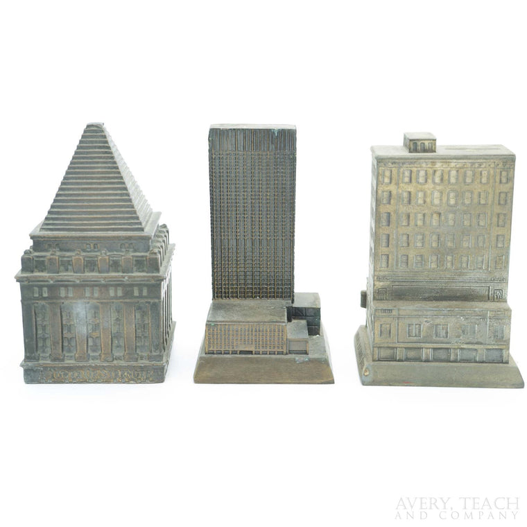 Lot of 3 Brass Banks of Bank Buildings