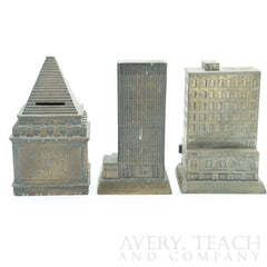 Lot of 3 Brass Banks of Bank Buildings - Avery, Teach and Co.