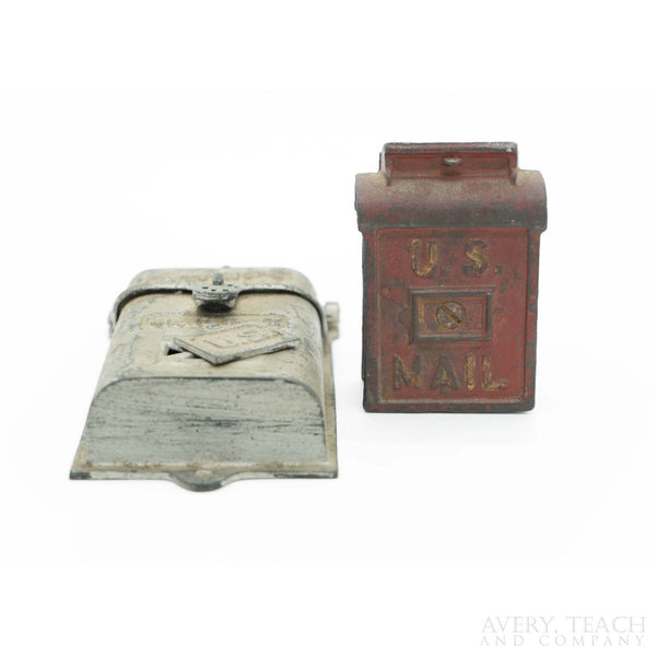 Pair of Antique Cast Iron U.S. Postal Mailbox Banks