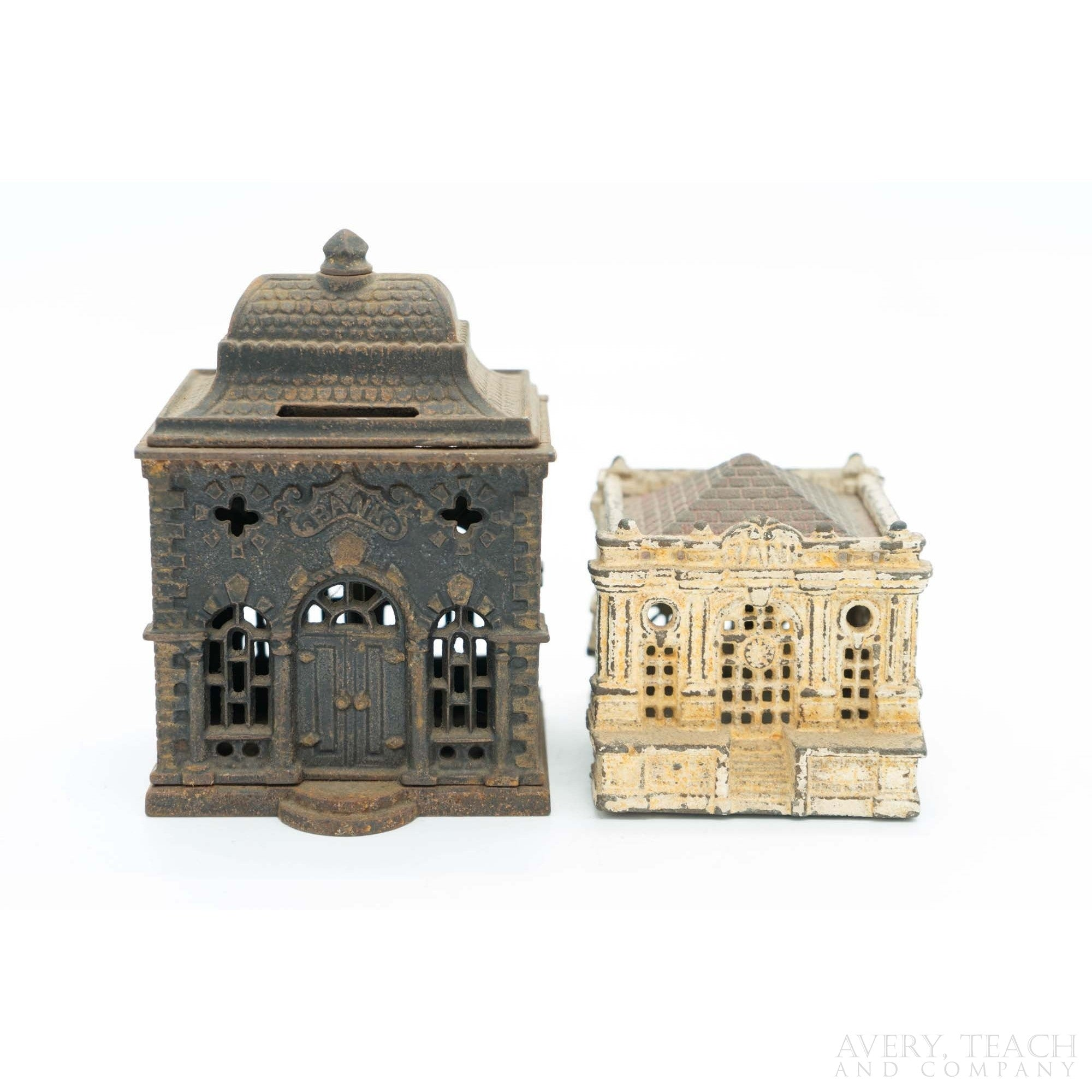 Pair of Antique Cast Iron Bank Building Still Banks