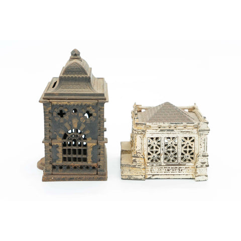 Pair of Antique Cast Iron Bank Building Still Banks - Avery, Teach and Co.