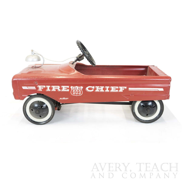 1960's Vintage Red & White Fire Chief Pedal Cart