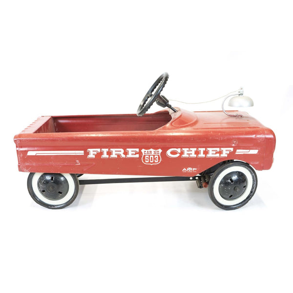 1960's Vintage Red & White Fire Chief Pedal Cart - Avery, Teach and Co.