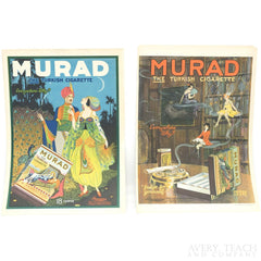 Pair of Antique Lithograph Advertisements Murad