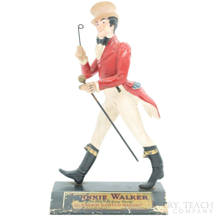 Antique Carved Wooden Johnnie Walker Figure Display
