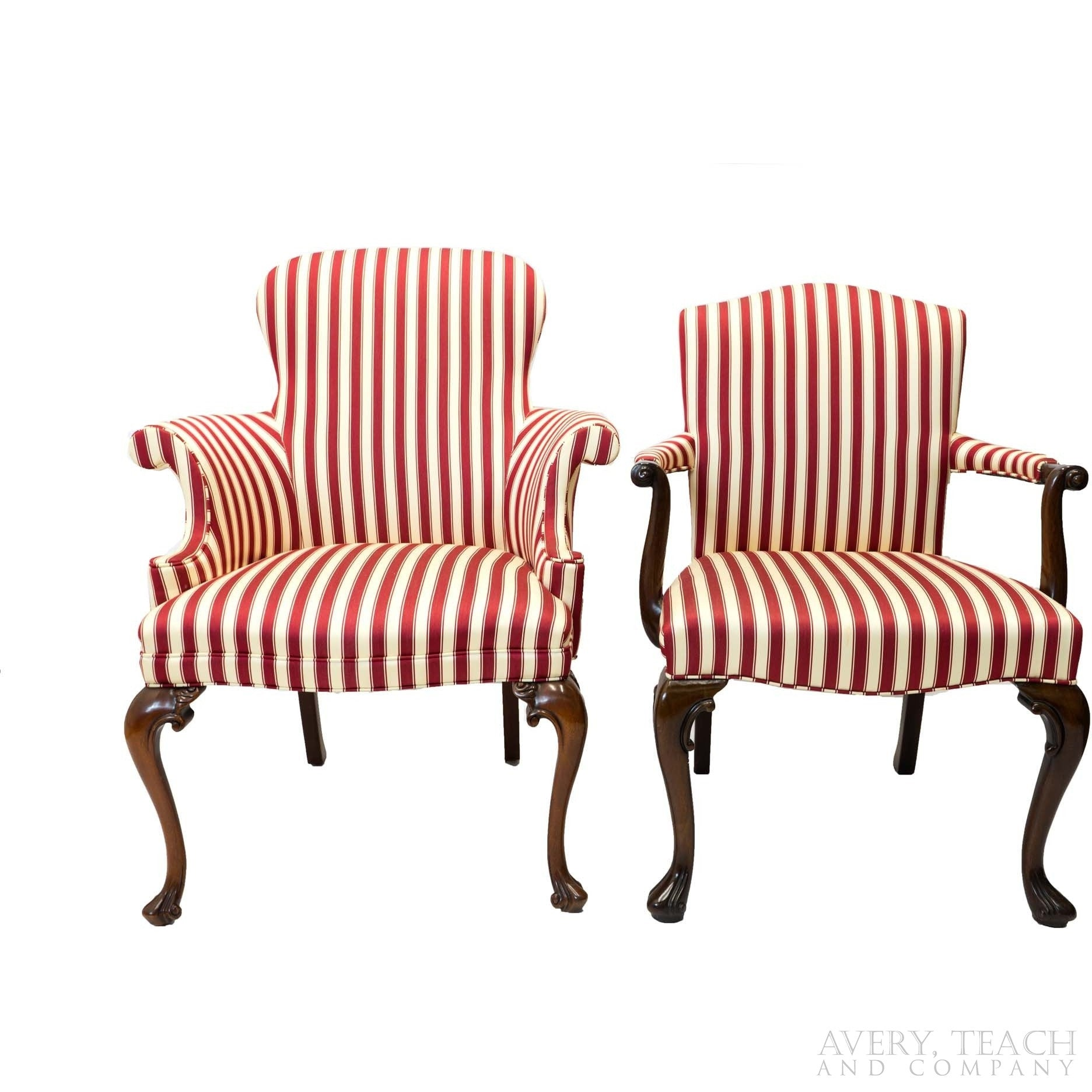 A pair of red and white striped parlor chairs with cabriole legs, the right one with an open arm style.