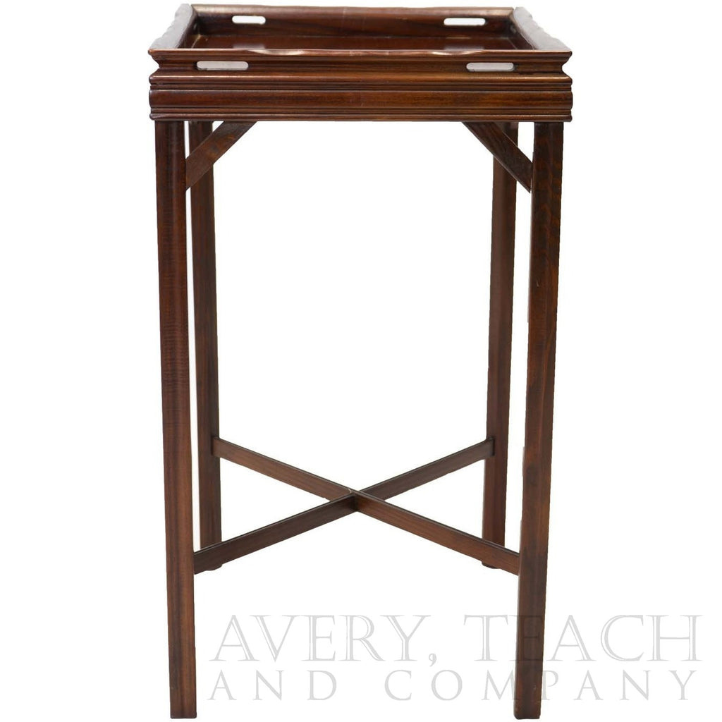 side view of an antique mahogany end table with a simple fluted design and a cross - Antique Mahogany End Tables
