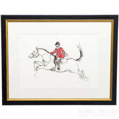 Print of a horse and a rider clad in red in a black and gold frame.
