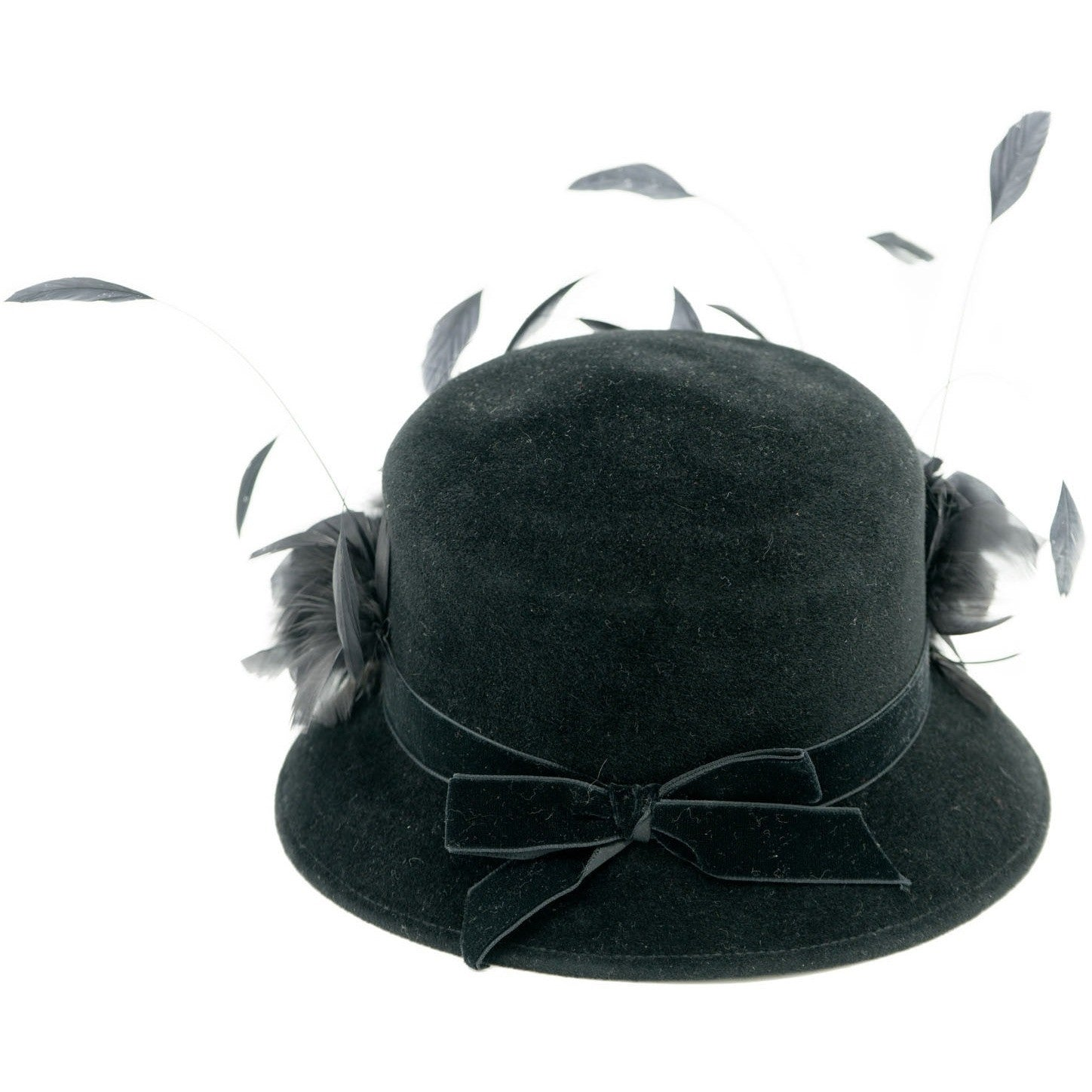 Luca Della Rocca Black Rabbit Hair Cloche Hat with Feathers